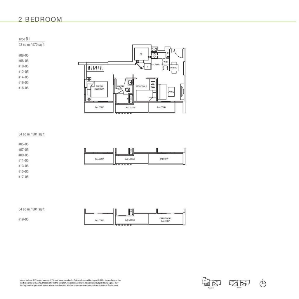 2 Bedroom Floorplan Type B1
