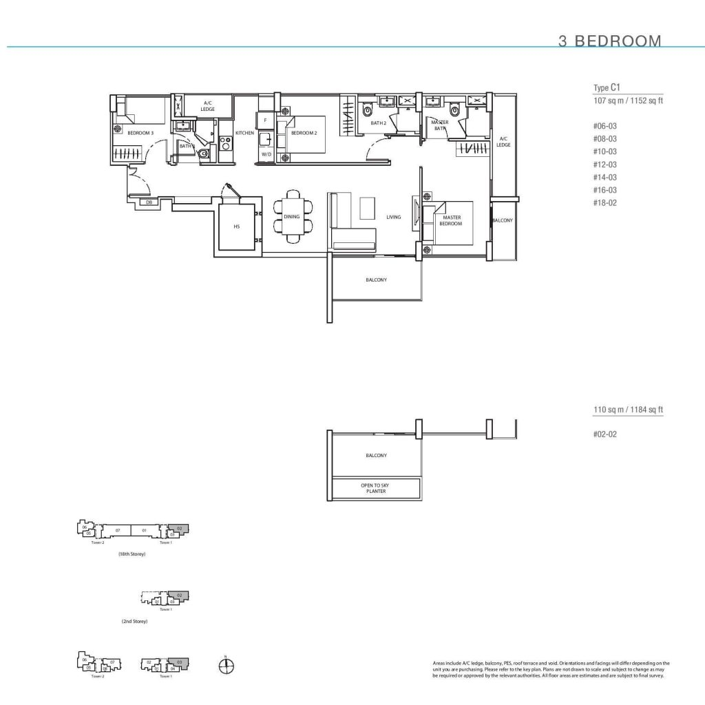 3 Bedroom Floorplan Type C1