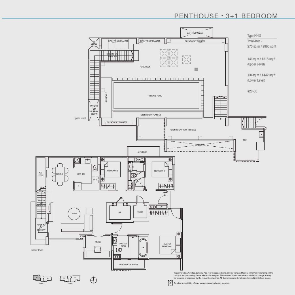 3+1 Bedroom Penthouse Floorplan Type PH3